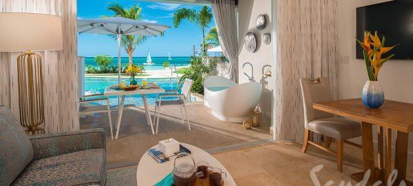 Beachfront Swim-up Super Luxe One-Bedroom Butler Suite Livign Room - SB1B