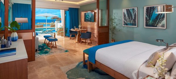 Beachfront Swim-up Millionaire One Bedroom Butler Suite w/ Patio Tranquility Soaking Tub - SM1B
